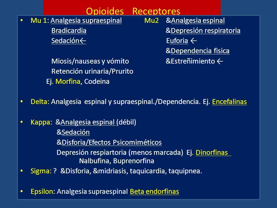 Opioides Receptores Mu 1: Analgesia supraespinal Mu2 &Analgesia espinal. Bradicardia &Depresión respiratoria.