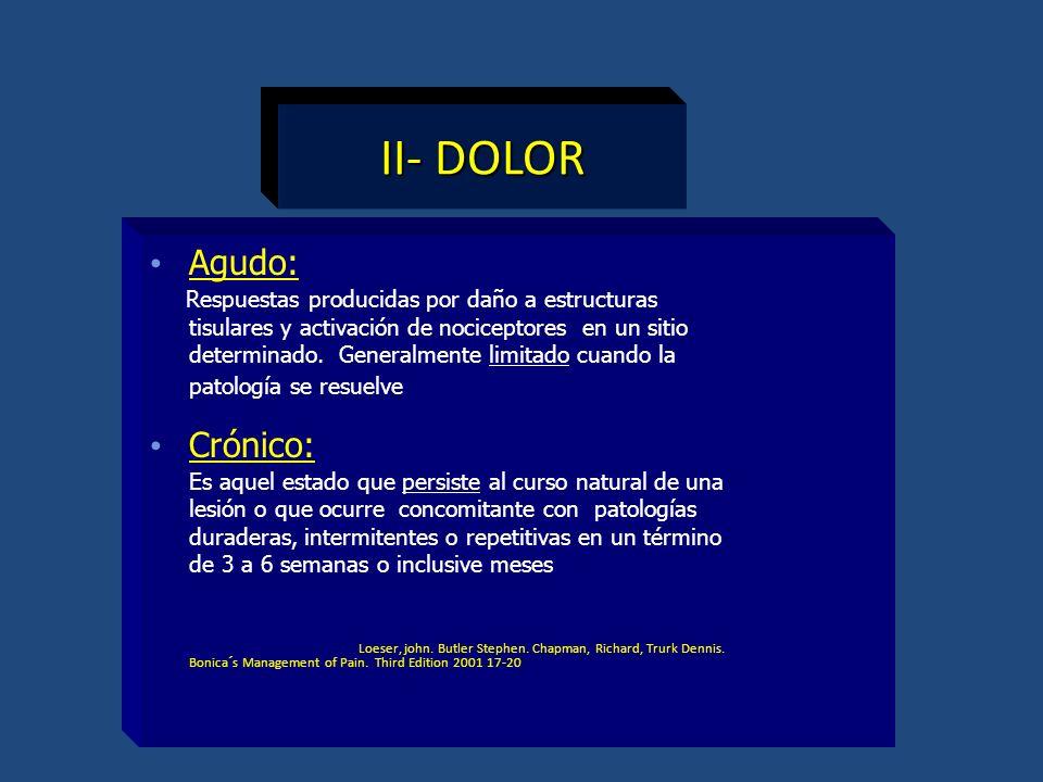 II- DOLOR Agudo: Crónico: Respuestas producidas por daño a estructuras