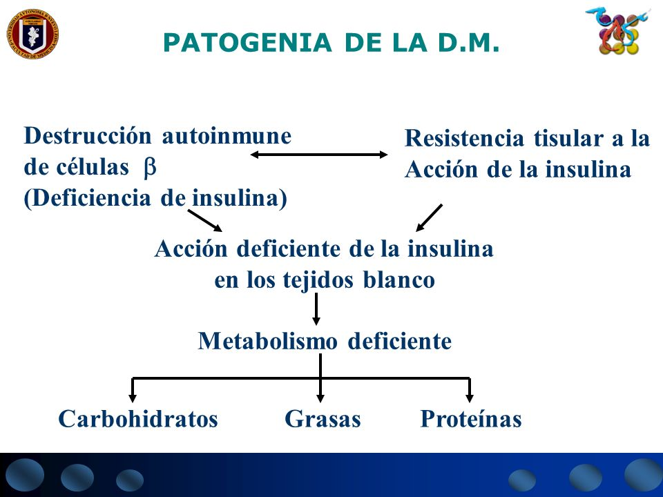 Acción deficiente de la insulina Metabolismo deficiente
