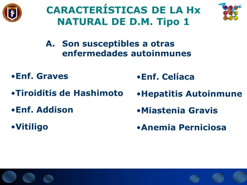 CARACTERÍSTICAS DE LA Hx NATURAL DE D.M. Tipo 1