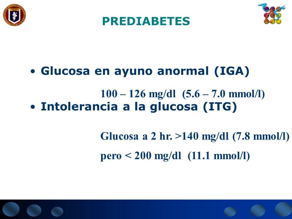 PREDIABETESGlucosa en ayuno anormal (IGA) Intolerancia a la glucosa (ITG) 100 – 126 mg/dl (5.6 – 7.0 mmol/l)