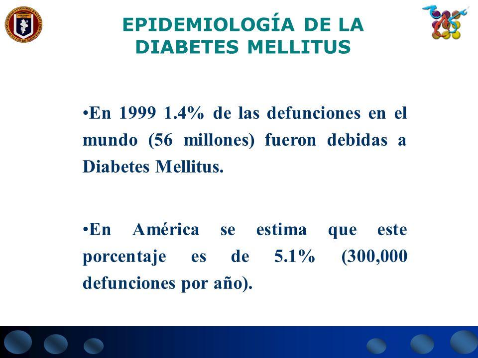 EPIDEMIOLOGÍA DE LADIABETES MELLITUS. En 1999 1.4% de las defunciones en el mundo (56 millones) fueron debidas a Diabetes Mellitus.