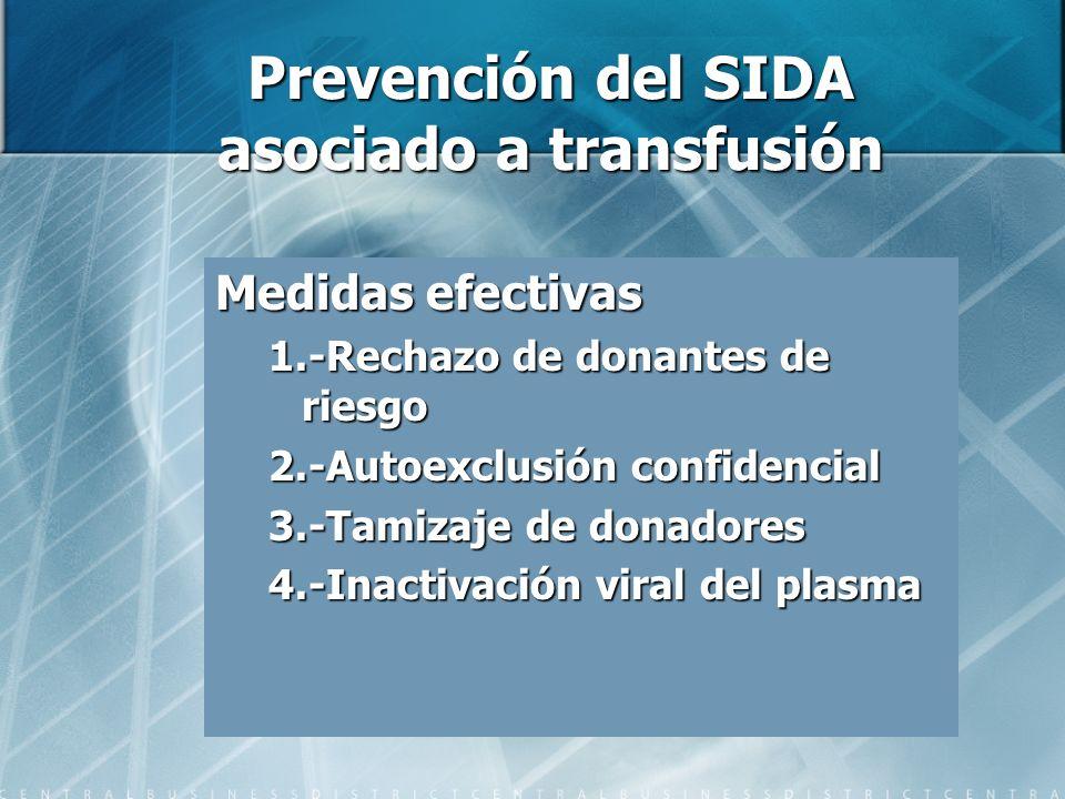 Prevención del SIDA asociado a transfusión