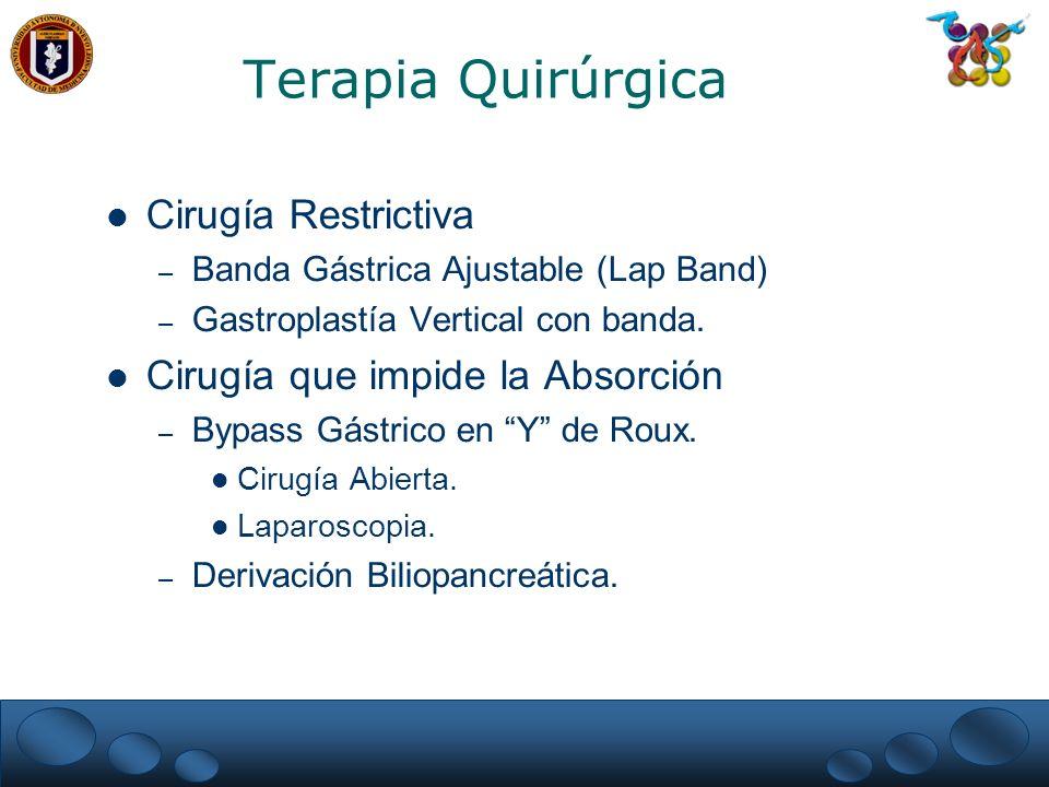 Terapia Quirúrgica Cirugía Restrictiva Cirugía que impide la Absorción
