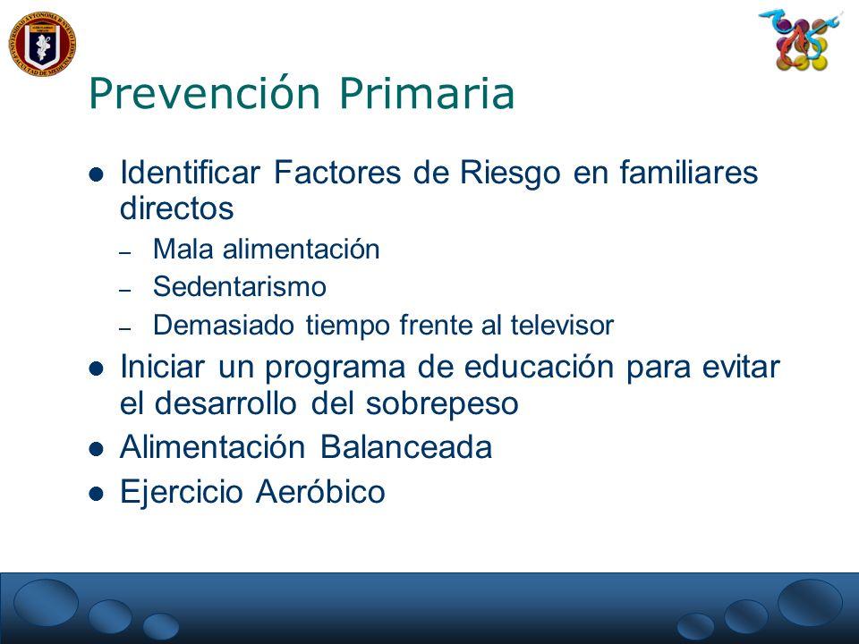 Prevención Primaria Identificar Factores de Riesgo en familiares directos. Mala alimentación. Sedentarismo.
