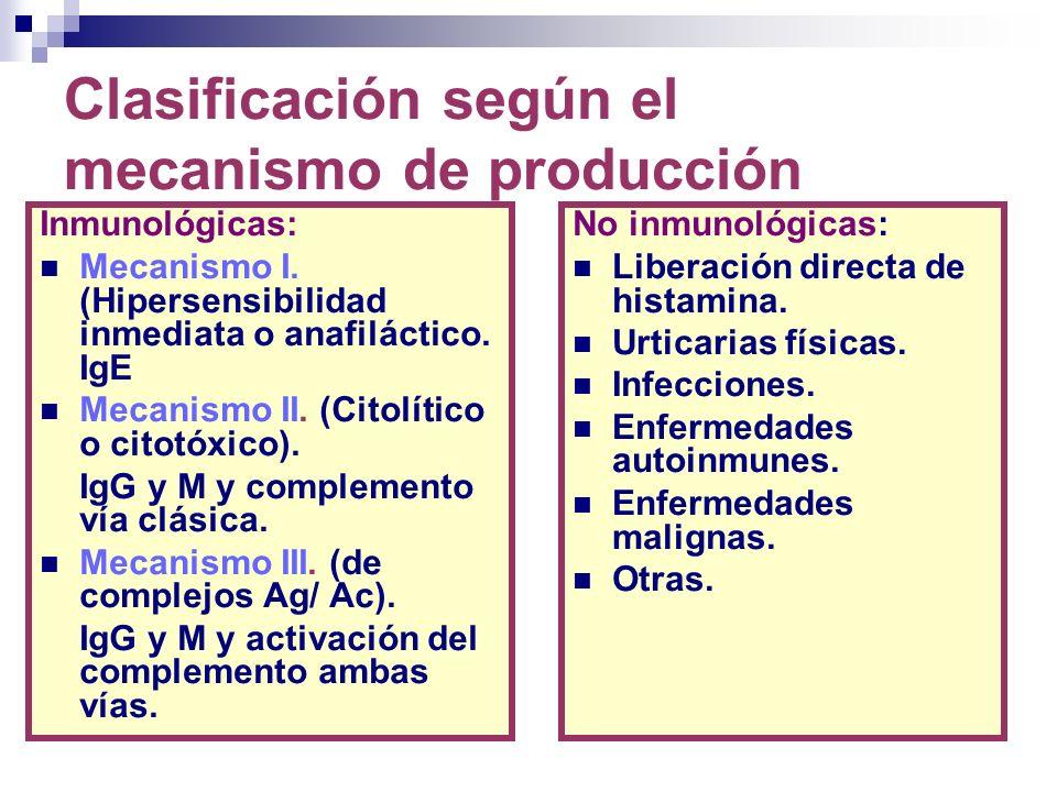 Clasificación según el mecanismo de producción
