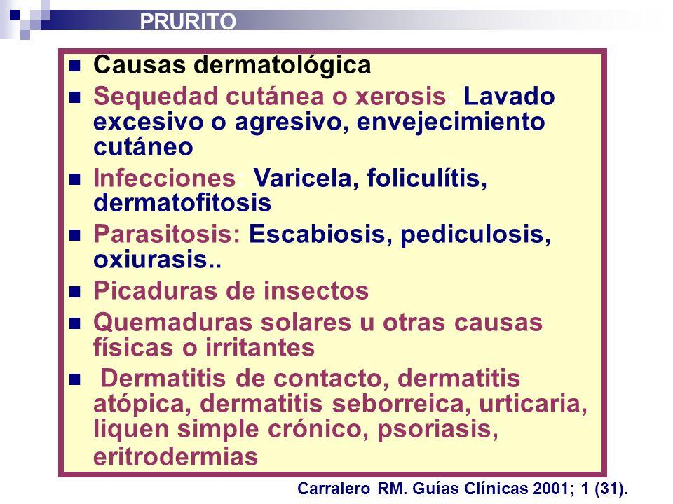 Infecciones: Varicela, foliculítis, dermatofitosis
