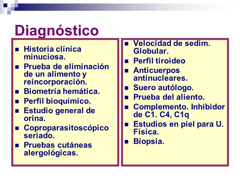 Diagnóstico Velocidad de sedim. Globular. Historia clínica minuciosa.