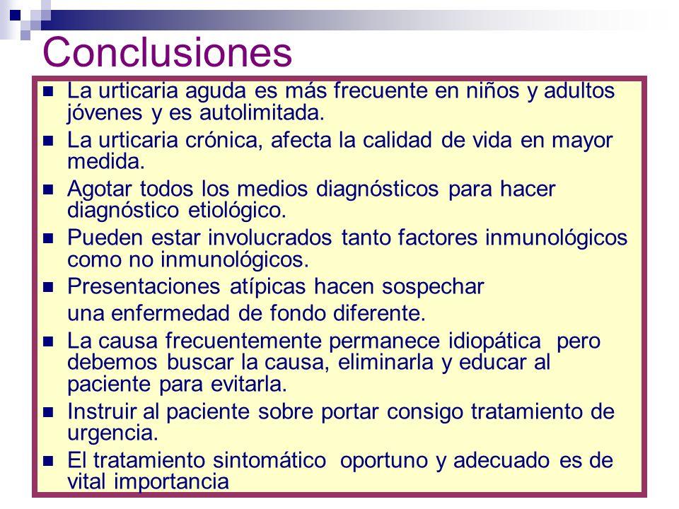ConclusionesLa urticaria aguda es más frecuente en niños y adultos jóvenes y es autolimitada.