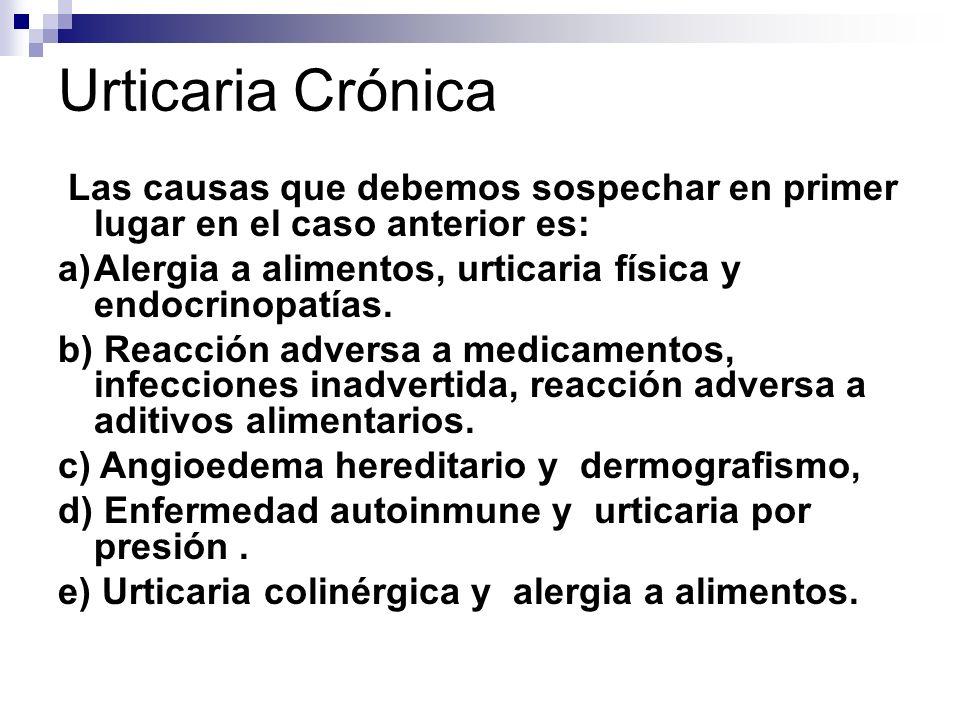 Urticaria CrónicaLas causas que debemos sospechar en primer lugar en el caso anterior es: