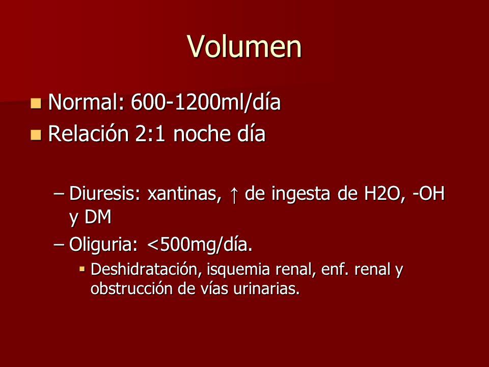 Volumen Normal: 600-1200ml/día Relación 2:1 noche día