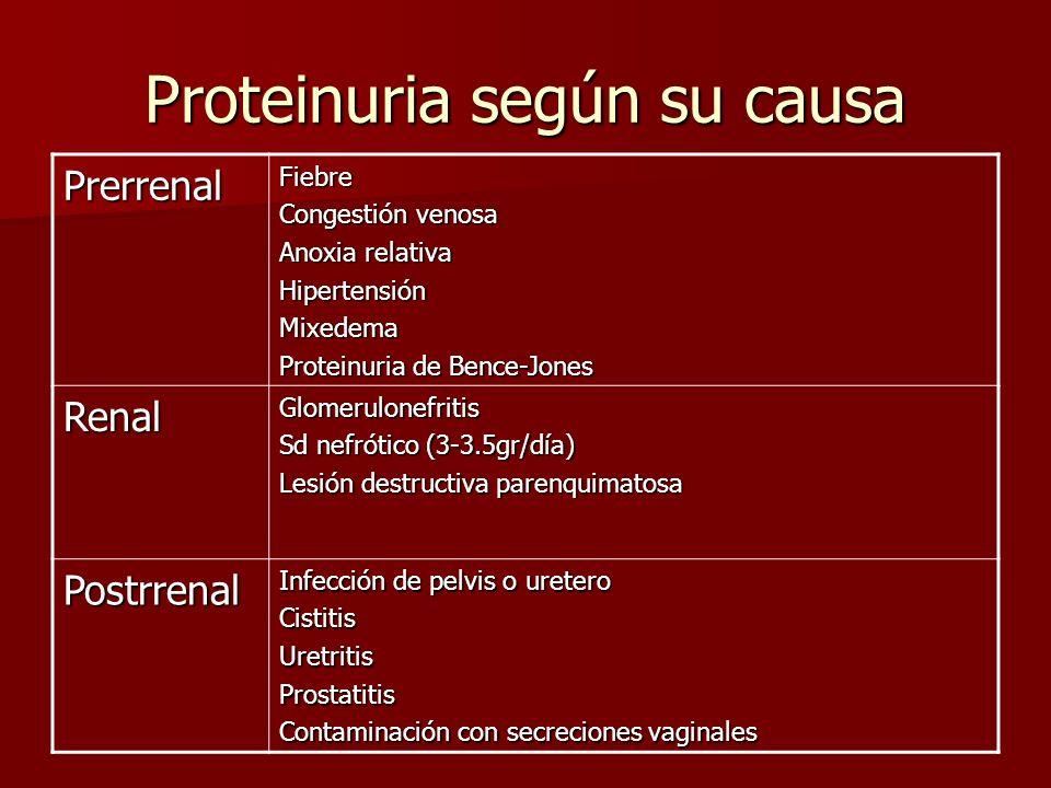 Proteinuria según su causa