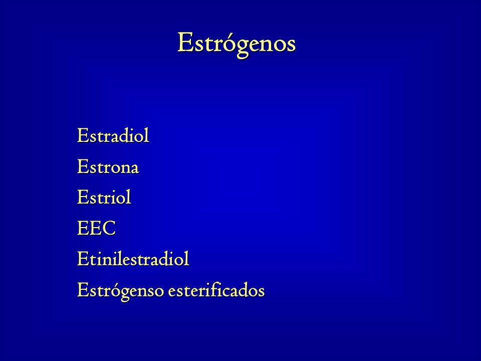 Estradiol Estrona Estriol EEC Etinilestradiol Estrógenso esterificados