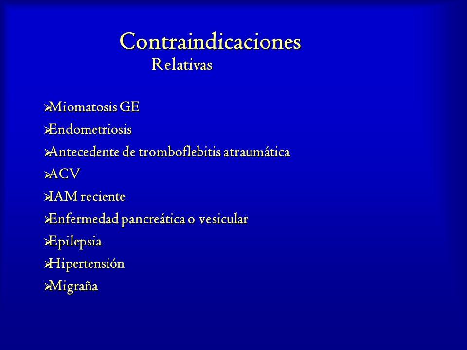 Contraindicaciones Relativas Miomatosis GE Endometriosis