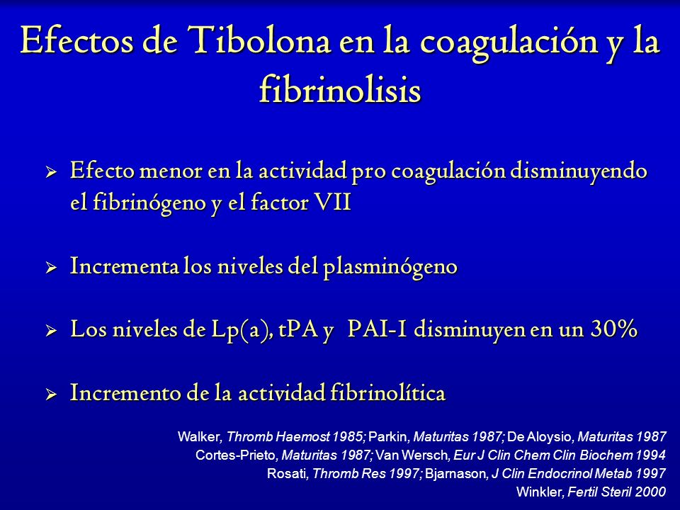Efectos de Tibolona en la coagulación y la fibrinolisis