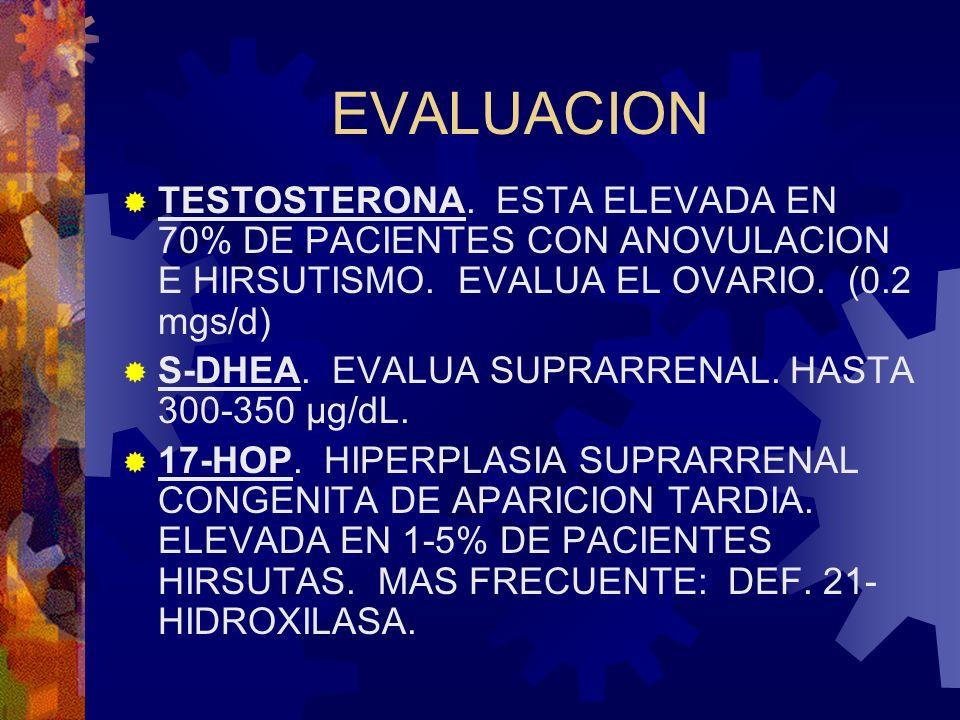 EVALUACION TESTOSTERONA. ESTA ELEVADA EN 70% DE PACIENTES CON ANOVULACION E HIRSUTISMO. EVALUA EL OVARIO. (0.2 mgs/d)