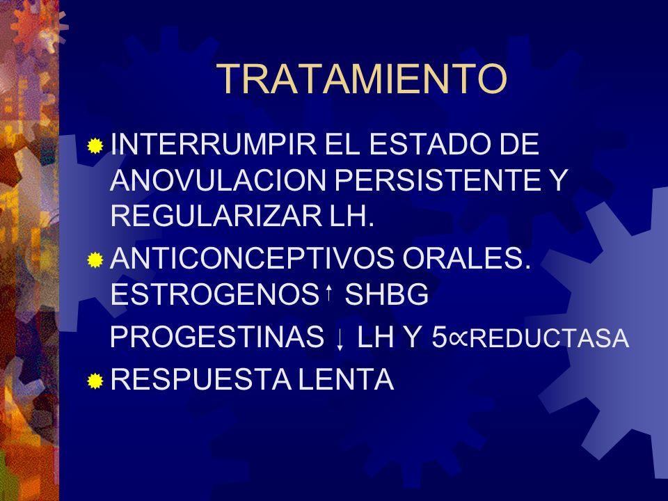 TRATAMIENTO INTERRUMPIR EL ESTADO DE ANOVULACION PERSISTENTE Y REGULARIZAR LH. ANTICONCEPTIVOS ORALES. ESTROGENOS SHBG.