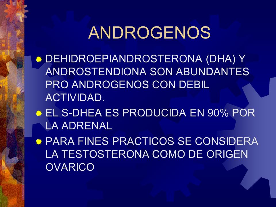 ANDROGENOS DEHIDROEPIANDROSTERONA (DHA) Y ANDROSTENDIONA SON ABUNDANTES PRO ANDROGENOS CON DEBIL ACTIVIDAD.