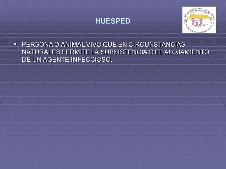 HUESPED PERSONA O ANIMAL VIVO QUE EN CIRCUNSTANCIAS NATURALES PERMITE LA SUBSISTENCIA O EL ALOJAMIENTO DE UN AGENTE INFECCIOSO.