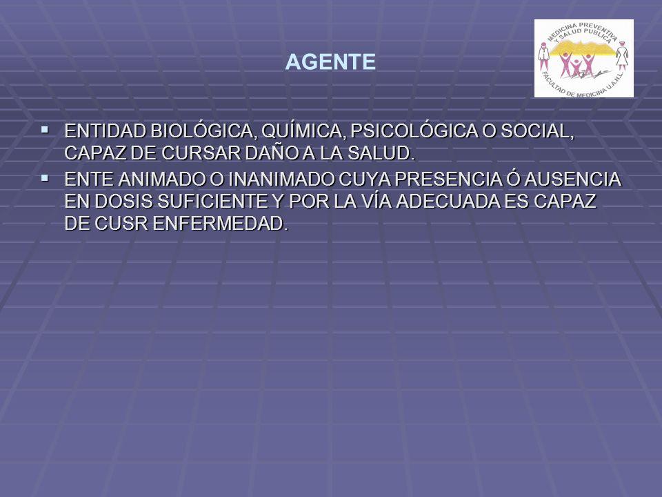 AGENTE ENTIDAD BIOLÓGICA, QUÍMICA, PSICOLÓGICA O SOCIAL, CAPAZ DE CURSAR DAÑO A LA SALUD.