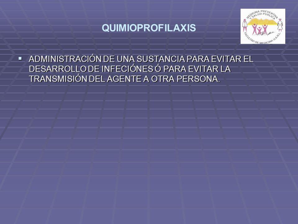 QUIMIOPROFILAXIS ADMINISTRACIÓN DE UNA SUSTANCIA PARA EVITAR EL DESARROLLO DE INFECIÓNES Ó PARA EVITAR LA TRANSMISIÓN DEL AGENTE A OTRA PERSONA.
