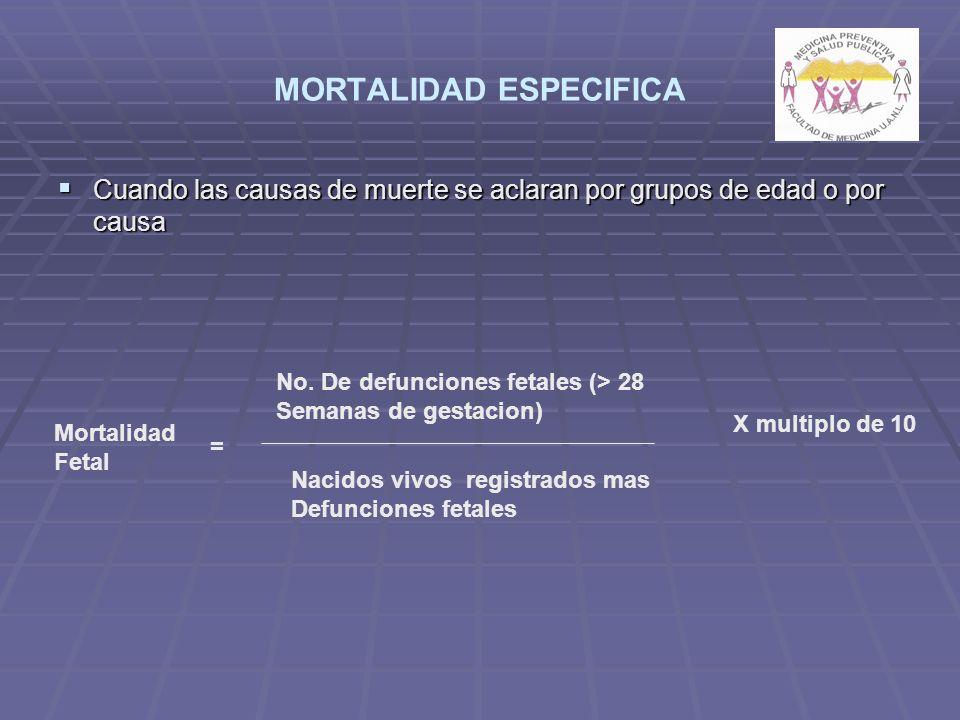 MORTALIDAD ESPECIFICA