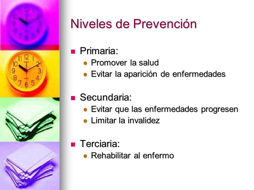 Niveles de Prevención Primaria: Secundaria: Terciaria: