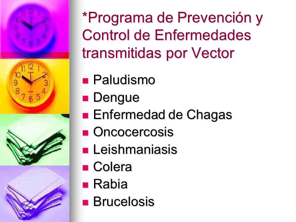 *Programa de Prevención y Control de Enfermedades transmitidas por Vector