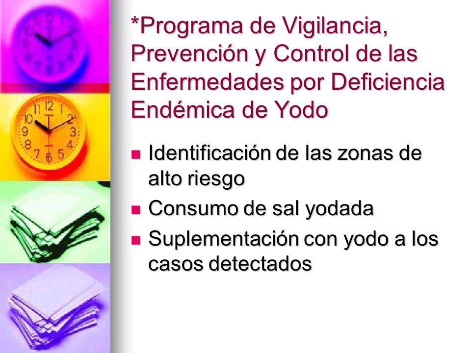 *Programa de Vigilancia, Prevención y Control de las Enfermedades por Deficiencia Endémica de Yodo