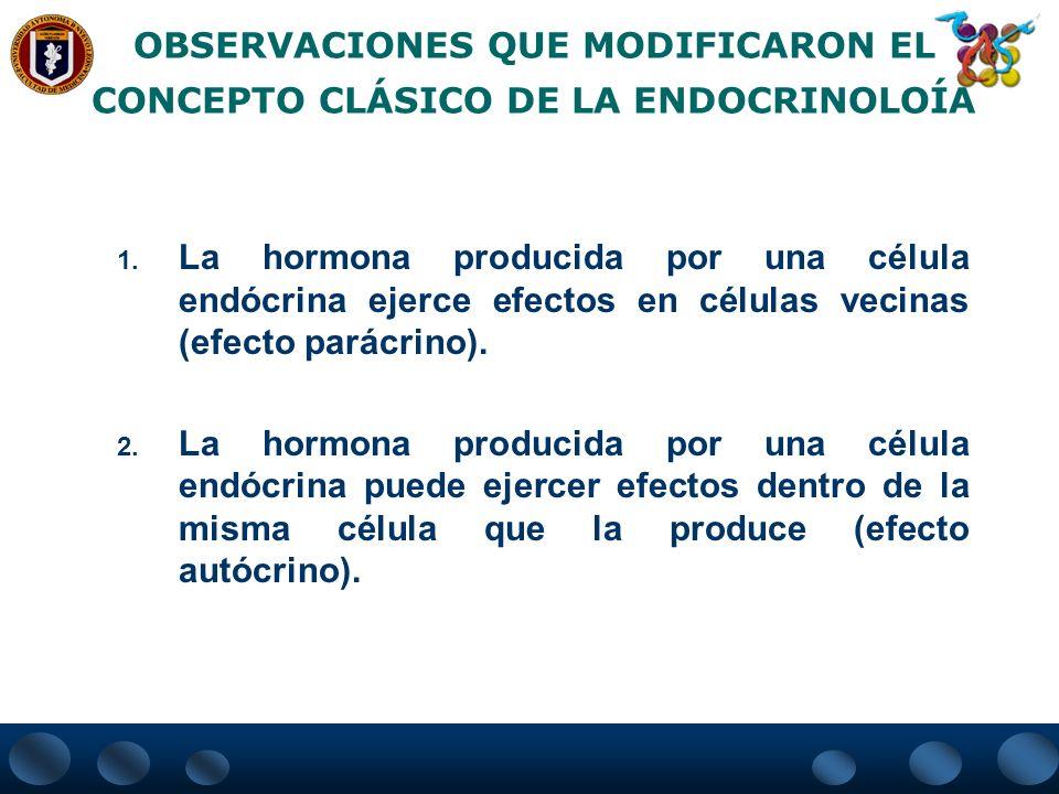 OBSERVACIONES QUE MODIFICARON EL CONCEPTO CLÁSICO DE LA ENDOCRINOLOÍA