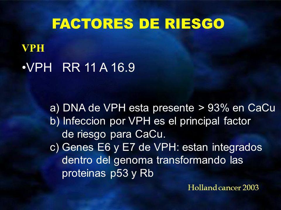 FACTORES DE RIESGO VPH RR 11 A 16.9 VPH