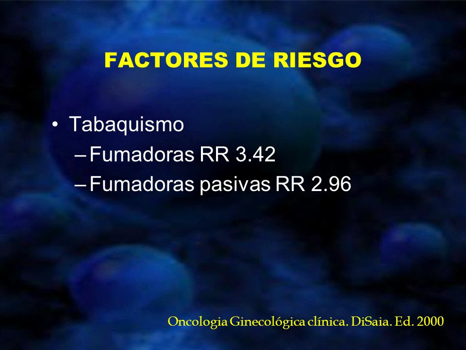 FACTORES DE RIESGO Tabaquismo Fumadoras RR 3.42