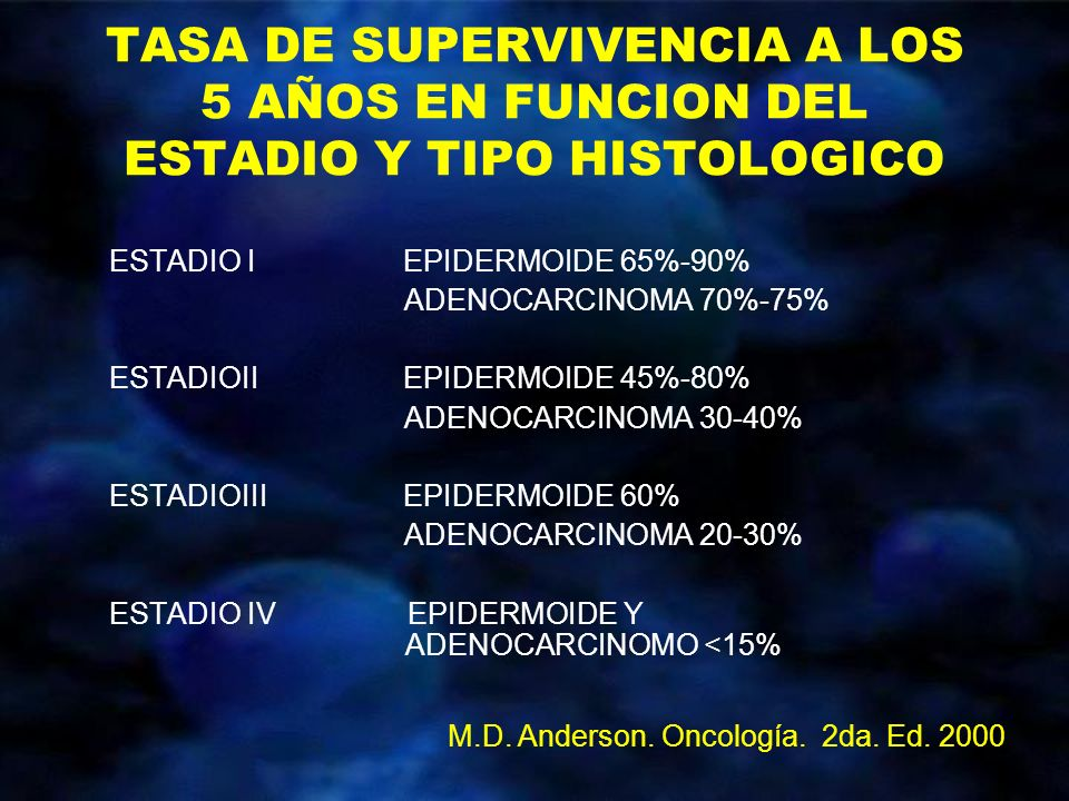 TASA DE SUPERVIVENCIA A LOS 5 AÑOS EN FUNCION DEL ESTADIO Y TIPO HISTOLOGICO