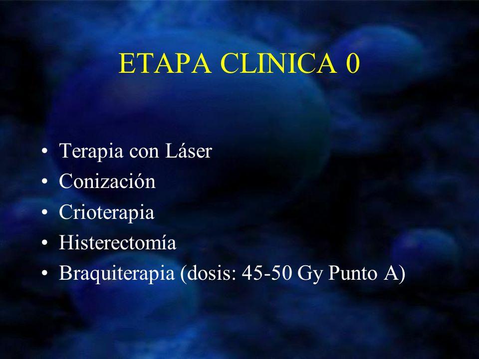 ETAPA CLINICA 0 Terapia con Láser Conización Crioterapia Histerectomía