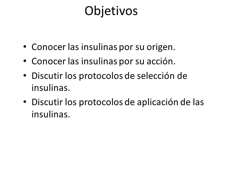 Objetivos Conocer las insulinas por su origen.