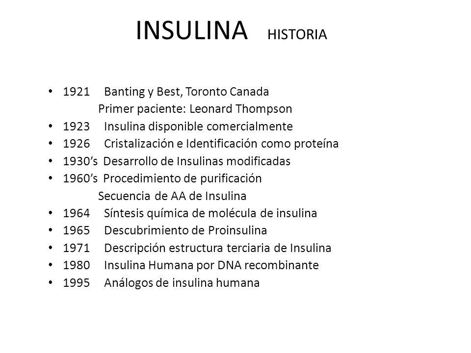 INSULINA HISTORIA 1921 Banting y Best, Toronto Canada