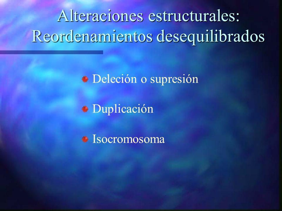 Alteraciones estructurales: Reordenamientos desequilibrados