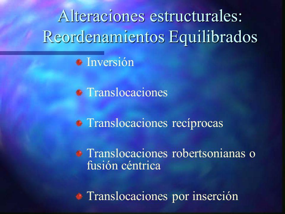 Alteraciones estructurales: Reordenamientos Equilibrados