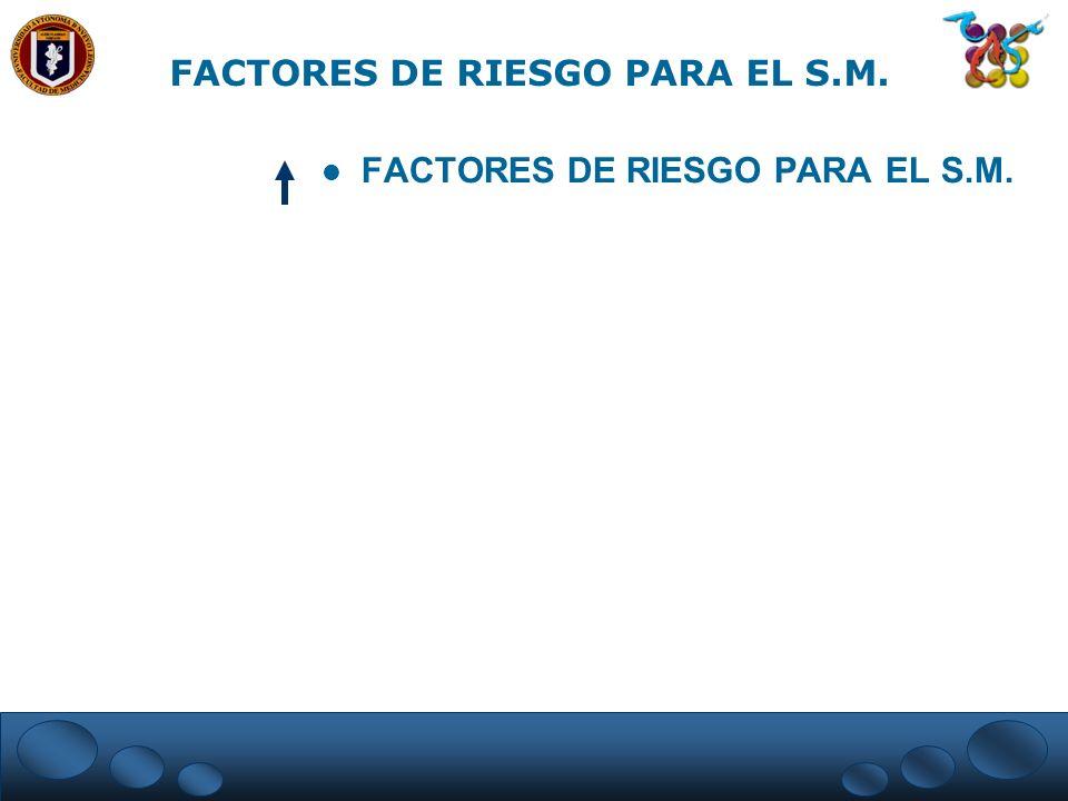 FACTORES DE RIESGO PARA EL S.M. FACTORES DE RIESGO PARA EL S.M.