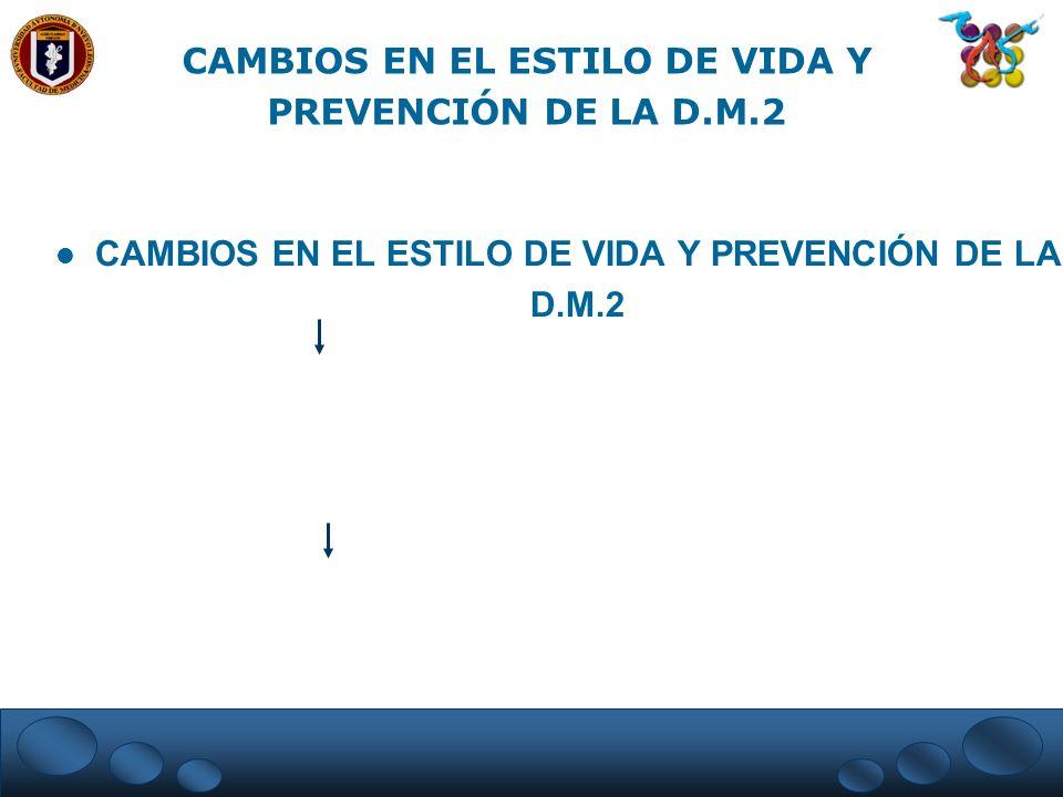 CAMBIOS EN EL ESTILO DE VIDA Y PREVENCIÓN DE LA D.M.2