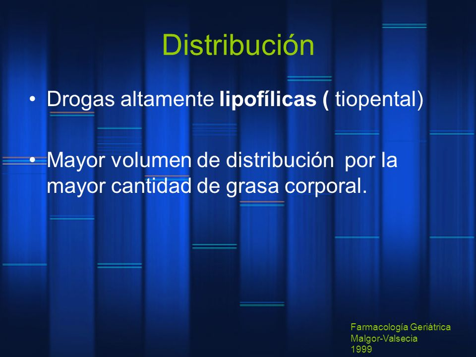Distribución Drogas altamente lipofílicas ( tiopental)