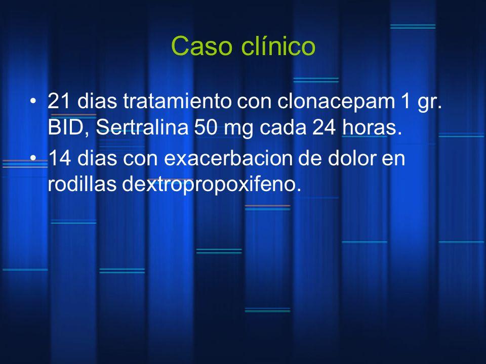 Caso clínico 21 dias tratamiento con clonacepam 1 gr. BID, Sertralina 50 mg cada 24 horas.