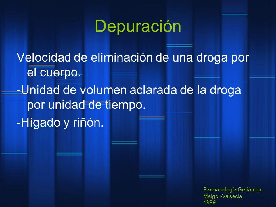 Depuración Velocidad de eliminación de una droga por el cuerpo.