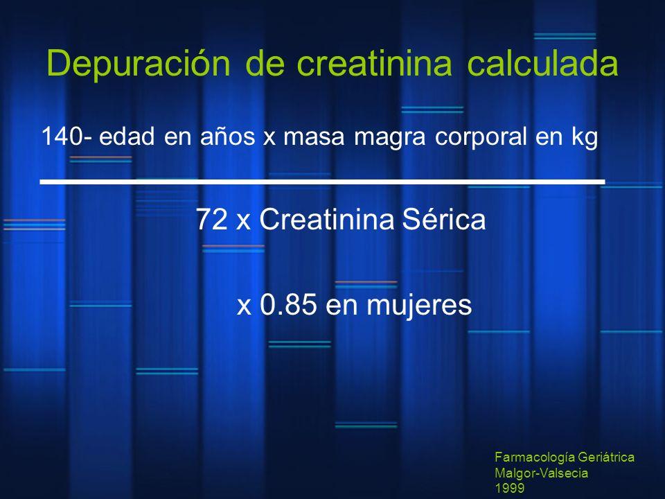 Depuración de creatinina calculada