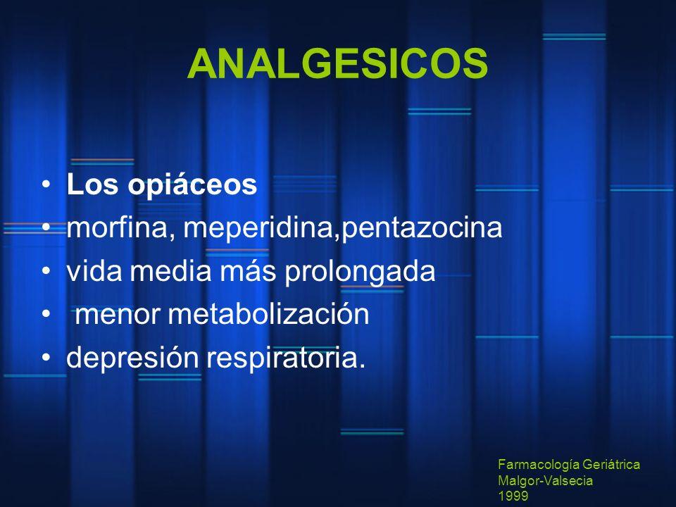 ANALGESICOS Los opiáceos morfina, meperidina,pentazocina