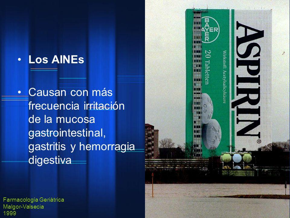 Los AINEs Causan con más frecuencia irritación de la mucosa gastrointestinal, gastritis y hemorragia digestiva.