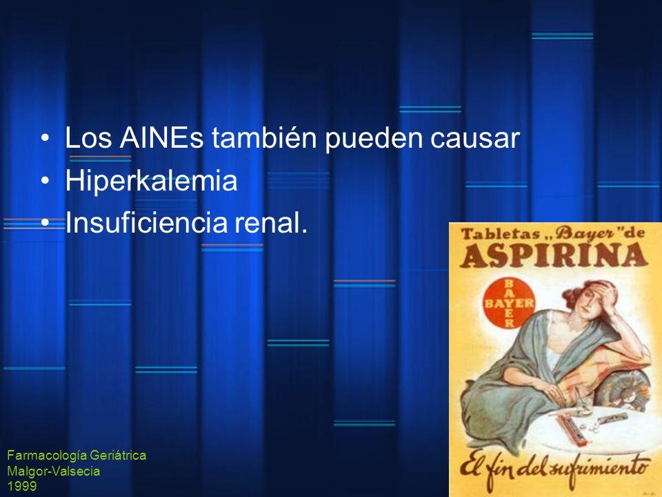 Los AINEs también pueden causar Hiperkalemia Insuficiencia renal.