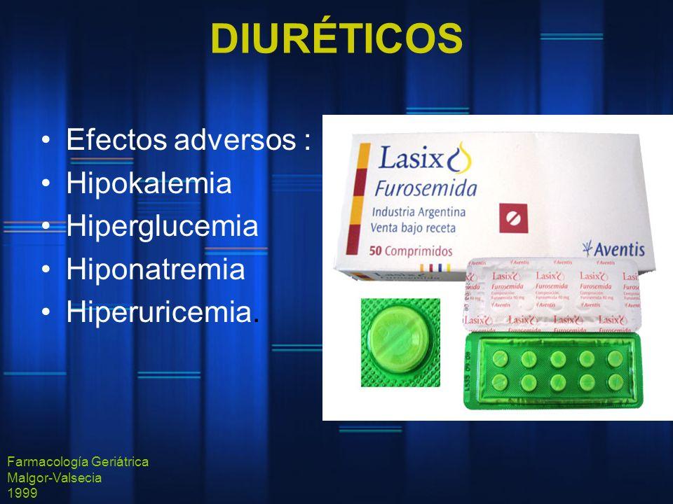 DIURÉTICOS Efectos adversos : Hipokalemia Hiperglucemia Hiponatremia