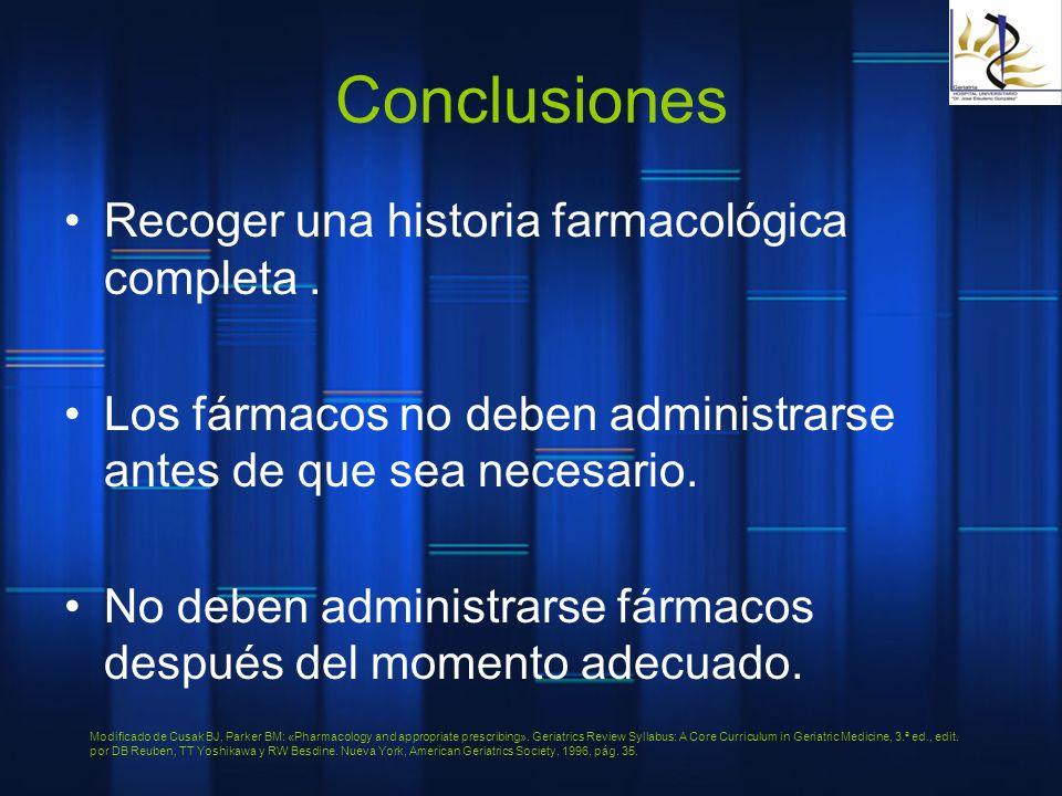 Conclusiones Recoger una historia farmacológica completa .