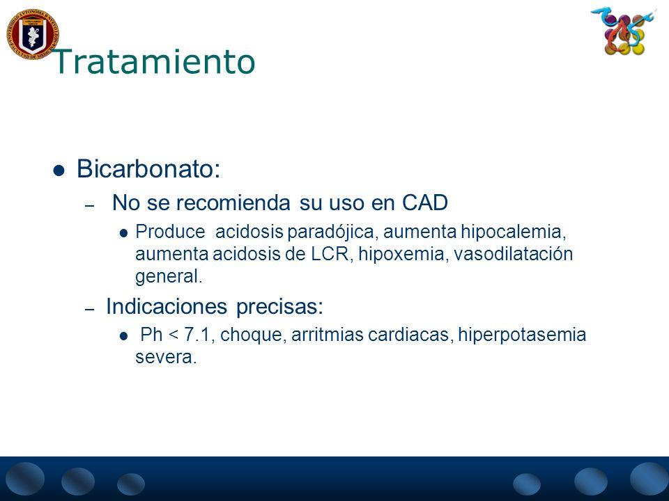 Tratamiento Bicarbonato: No se recomienda su uso en CAD